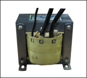 SINGLE PHASE BUCK TRANSFORMER, 7.5 KVA, INPUT 138 VAC, OUTPUT 120 VAC, P/N 13243
