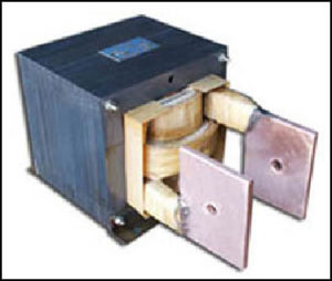 SINGLE PHASE HIGH CURRENT TRANSFORMER, 14 KVA, OUTPUT 8 VAC, 1750 AMPS, P/N 17967