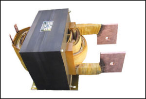 SINGLE PHASE HIGH CURRENT TRANSFORMER, 21 KVA, OUTPUT 10 VAC, 2100 AMPS, P/N 18511