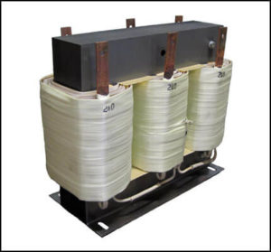 THREE PHASE BOOST TRANSFORMER, 9 KVA, INPUT 240 VAC, OUTPUT 380 VAC, P/N 18836