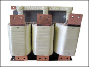 THREE PHASE BOOST TRANSFORMER, 156 KVA, INPUT 37.6 VAC, OUTPUT 45.1 VAC, P/N 18838C
