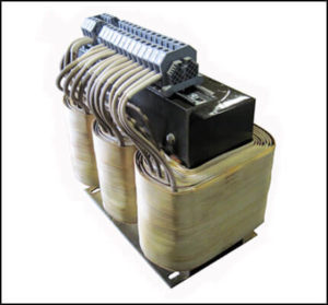 THREE PHASE BOOST TRANSFORMER, 32 KVA, INPUT 240 VAC, OUTPUT 380/400/415/480 VAC, P/N 18867