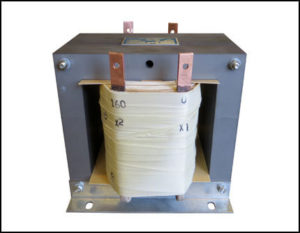 Single Phase Isolation Transformer 7.5 KVA, 60 Hz, Primary: 480 VAC, 16 Amps Secondary: 160 VAC, 48 Amps, P/N 19017