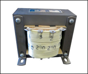 SINGLE PHASE BOOST TRANSFORMER, 0.75 KVA, INPUT 230 VAC, OUTPUT 290/300 VAC, P/N 19023