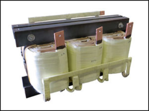 THREE PHASE HIGH CURRENT TRANSFORMER, 87 KVA, OUTPUT 115 VAC, 436 AMPS, P/N 19031N