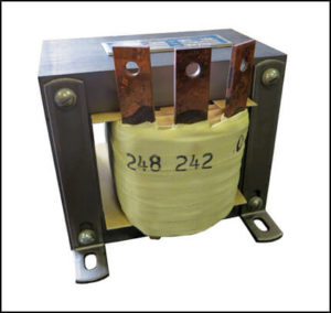 SINGLE PHASE BUCK TRANSFORMER, 5 KVA, INPUT 248 VAC, OUTPUT 242 VAC, P/N 19035