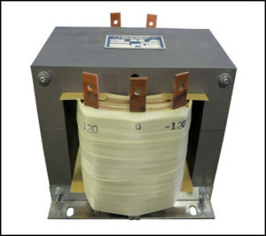 CENTER TAP TRANSFORMER, 7.5 KVA, PRIMARY 208 VAC, SECONDARY -120/0/120 VAC, P/N 19036