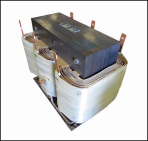 THREE PHASE BOOST TRANSFORMER, 58 KVA, INPUT 380 VAC, OUTPUT 480 VAC PN 19055