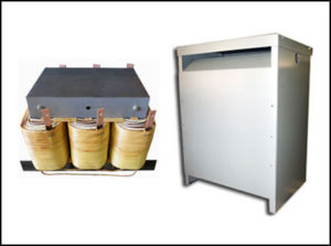 Three Phase Isolation Transformer, 30 KVA, 60 Hz, Primary: 208 VAC, Secondary: 575 VAC, P/N 19058N