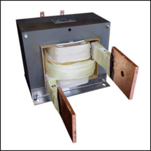 SINGLE PHASE HIGH CURRENT TRANSFORMER, 15 KVA, OUTPUT 5/10 VAC, 1500 AMPS, P/N 19069-1