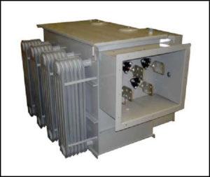 Oil Filled Scott T Transformer, 45 KVA, MAIN Input: 2300 VAC, TEASER Input: 2300 VAC Output: 12470 VAC L – L, P/N 6267L