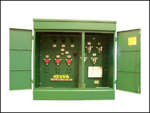 Oil Filled Transformer, 45 KVA, Primary: 13200 / 23000 / 34500 VAC, Delta Secondary: 220 / 127 VAC, Wye, P/N 6283L