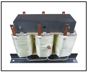 THREE PHASE BUCK TRANSFORMER, 40 KVA, INPUT 480 VAC, OUTPUT 380 VAC, P/N 19083N