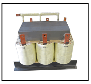 THREE PHASE BUCK TRANSFORMER, 40 KVA, INPUT 380 VAC, OUTPUT 208 VAC, P/N 19188N