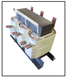 THREE PHASE BUCK TRANSFORMER, 75 KVA, INPUT 415/427 VAC, OUTPUT 380 VAC, P/N 18832N3