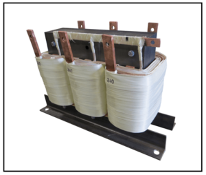 THREE PHASE BUCK TRANSFORMER, 75 KVA, INPUT 240 VAC, OUTPUT 220 VAC, P/N 19002N