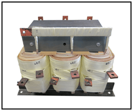 THREE PHASE BOOST TRANSFORMER, 100 KVA, INPUT 380 VAC, OUTPUT 460/480 VAC, P/N 19148N