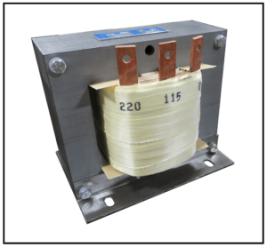 SINGLE PHASE BUCK TRANSFORMER, 2 KVA, INPUT 220 VAC, OUTPUT 115 VAC, P/N 18279