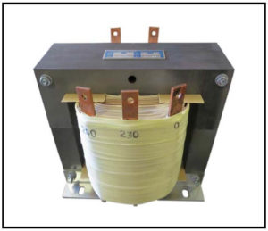 Isolation Transformer, 4.0 KVA, 1 PH, 60 Hz, Primary: 480 VAC, Secondary: 230 VAC, Secondary: 240 VAC, P/N 19107