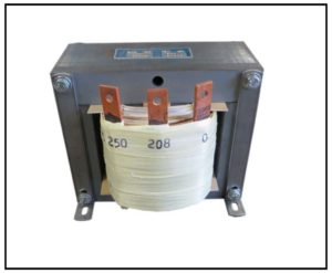 SINGLE PHASE BUCK TRANSFORMER, 9.4 KVA, INPUT 250 VAC, OUTPUT 208 VAC, P/N 19128