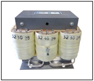 Three Phase Isolation Transformer, 0.075 KVA, 3 PH, 60 Hz, Primary: 480 VAC L-L, Secondary: 28/30/32 VAC L-L, P/N 19132