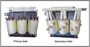 Three Phase Multi Tap Transformer, 20 KVA, Input: 360/380/400/420/440/460/480 VAC L-L, Output: 84/5.25/5.25 VAC L-L, P/N 19135