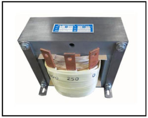 SINGLE PHASE BUCK TRANSFORMER, 2 KVA, INPUT 500 VAC, OUTPUT 250 VAC, P/N 19175