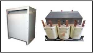 Isolation Transformer, 20 KVA, 3 PH, 50/60 Hz, Primary: 440/480 VAC, Secondary: 230 VAC L-L, P/N 19117N
