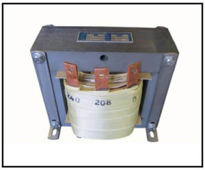 SINGLE PHASE BOOST TRANSFORMER, 8 KVA, INPUT 208 VAC, OUTPUT 240 VAC, P/N 18357