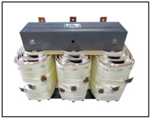 THREE PHASE BUCK TRANSFORMER, 100 KVA, INPUT 380/400/415 VAC, OUTPUT 208 VAC, P/N 18714A