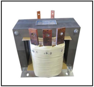 CENTER TAP TRANSFORMER, 2.4 KVA, PRIMARY 208 VAC, SECONDARY 14.8/29.6 VAC, P/N 19145