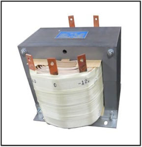 CENTER TAP TRANSFORMER, 10 KVA, PRIMARY 120 VAC, SECONDARY -120/0/120 VAC, P/N 19247