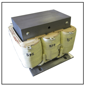 THREE PHASE BOOST TRANSFORMER, 4 KVA, INPUT 480 VAC, OUTPUT 575 VAC, P/N 19283N