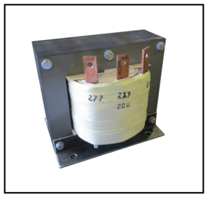 SINGLE PHASE BOOST TRANSFORMER, 7 KVA, INPUT 208 VAC, OUTPUT 277 VAC, P/N 19290N