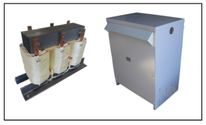 THREE PHASE BUCK TRANSFORMER, 21 KVA, INPUT 480 VAC, OUTPUT 400 VAC, WITH NEMA 3R ENCLOSURE, P/N 19300N3