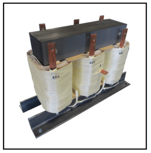 THREE PHASE BUCK TRANSFORMER FOR SOLAR PANELS, 21 KVA, INPUT 480 VAC, OUTPUT 400 VAC, P/N 19300N3