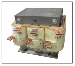 THREE PHASE BUCK TRANSFORMER, 8 KVA, INPUT 480 VAC, OUTPUT 460 VAC, P/N 19311N