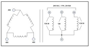 3 PH TO 1 PH TRANSFORMER, 30 KVA, P/N 7881L1