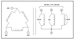 3 PH TO 1 PH TRANSFORMER, 150 KVA, P/N 7881L2