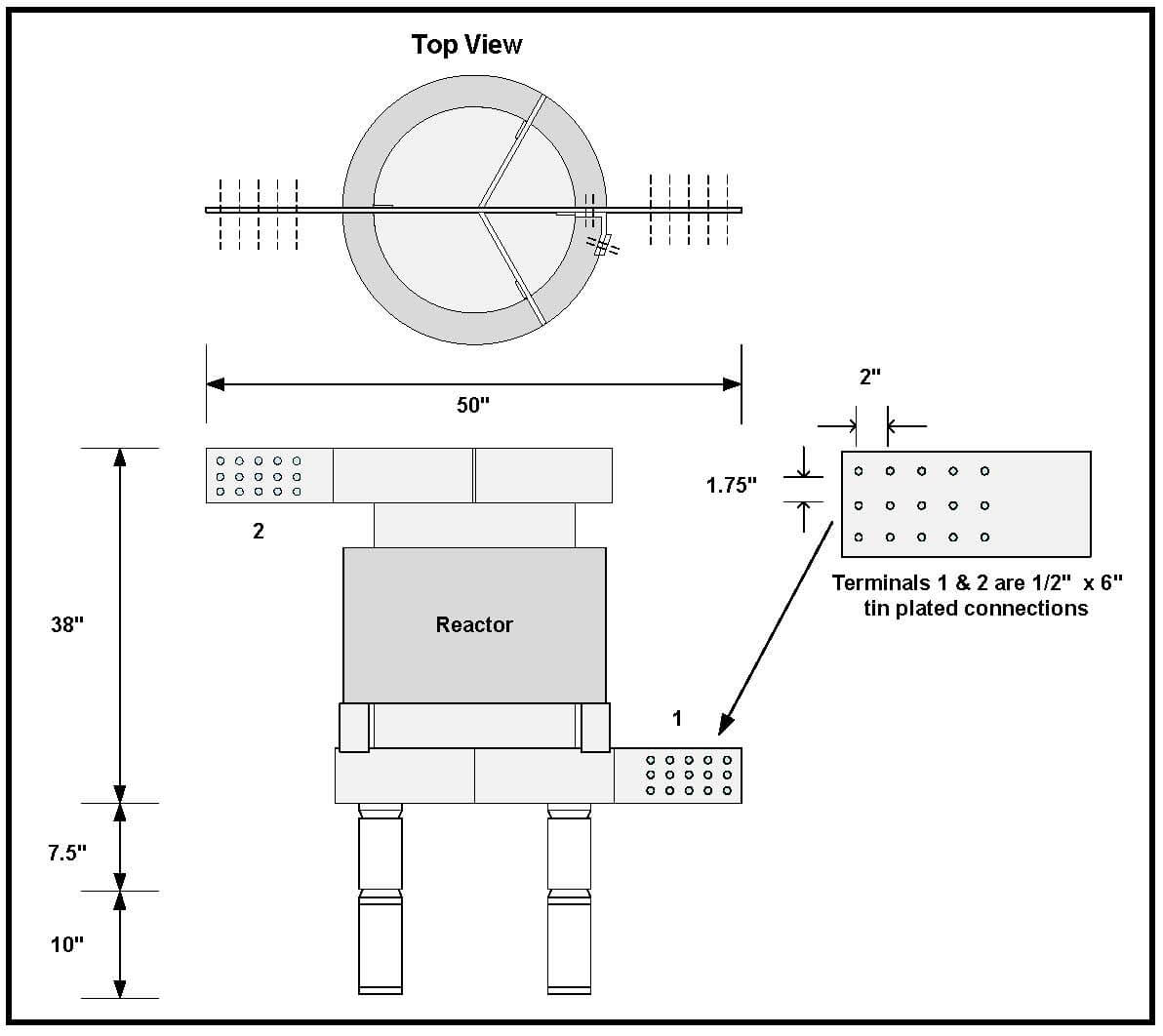 air core reactor  4 24 uh  3000 amps continuous  p  n 6892l
