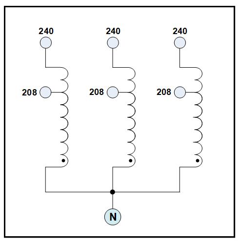nema 1 three phase buck transformer  20 kva  input 208 vac  output 240 vac  p  n 19292n  c